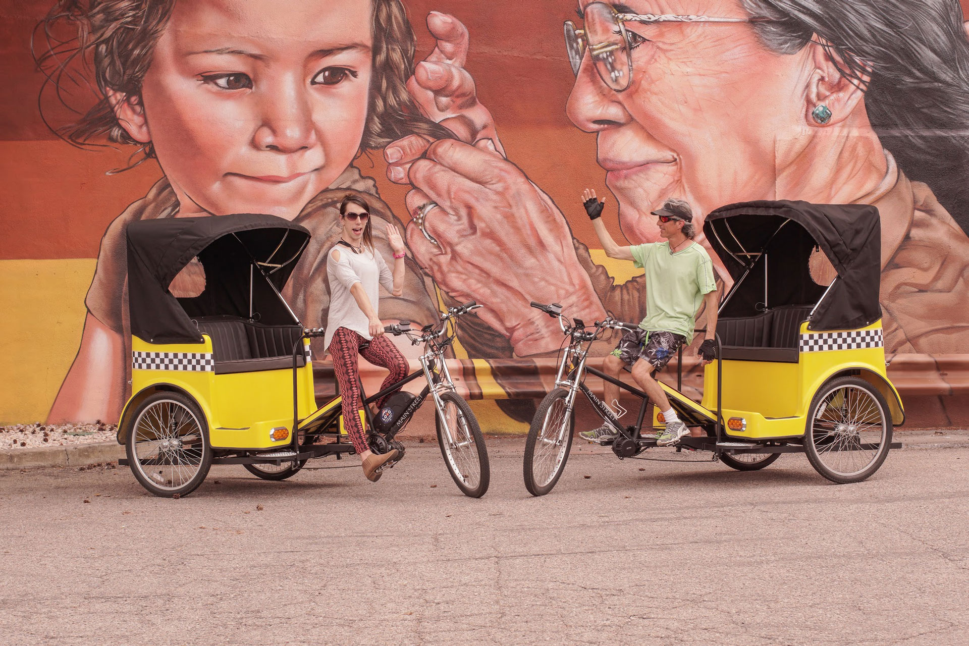 Photo of Longmont Bike Taxi Founders in Downtown Longmont